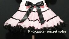 Light Pink Black Trim FULL Pettiskirt Skirt Party Dance Tutu Dress Girl 1-8Y