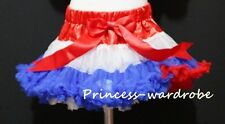 Xmas Red White Blue FULL Pettiskirt Skirt Petti Party Dance Tutu Dress Girl 1-8Y