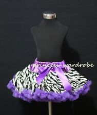 Dark Purple Zebra Print FULL Pettiskirt Skirt Party Dance Tutu Dress Girl 1-8Y