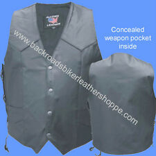 MENS LEATHER MOTORCYCLE BIKER CLUB VEST INSIDE CONCEALED WEAPON POCKET  XS-6X