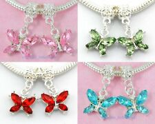 20pcs Silver Plated Butterfly Dangle Charm Inlay Crystal Fit Bracelet E17
