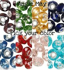 10 Dione Large Hole Faceted Glass Charm Beads Silver Grommet ~ Pick your Color