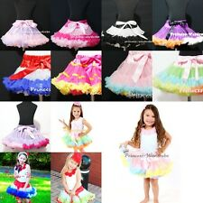 Rainbow Color Multi-List Pettiskirt Skirt Petti Party Dance Tutu Dress Girl 1-8Y