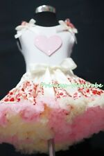 White Pettitop Top in Pink Ruffles Heart with Cream Pink Heart Pettiskirt 1-8Y