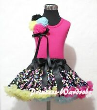 Rainbow Dots Pettiskirt Skirt with Bunch Rosettes Hot Pink Pettitop Top 1-8Year