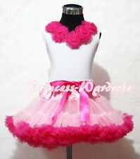 Light Hot Pink Pettiskirt Skirt White Pettitop Top Hot Pink Rosettes Set 1-8Year