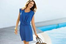 new RRP $150 JACQUI E DRAPE NECK BLUE DRESS TUNIC