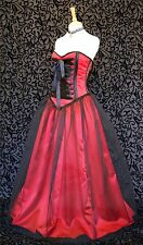 Gothic Prom Dress Ballgown Red Satin & Black Net Vampire Corset OBSIDIAN NEW