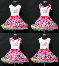 White Pettitop Top in Butterfly Print Hot Pink Floral Print Pettiskirt Set 1-8Y