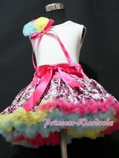 Hot Pink Floral Print Pettiskirt Skirt White Pettitop Top Rose Bow Set Girl 1-8Y
