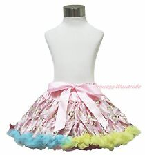 Light Pink Rainbow Floral Fusion Rose Print FULL Pettiskirt Skirt Dress Tutu1-8Y