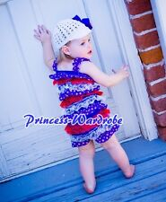 NewBorn Baby Patriotic Lace Chiffon ONE PIECE Petti Romper Kid Girl Size NB-3Y
