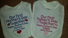 OUR FIRST 1st MOTHER'S DAY OR FATHER'S DAY TOGETHER BIB PERSONALIZED