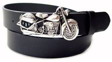 Black Leather Biker Belt with a -  PANHEAD  - Style Metal Motorcycle Belt Buckle