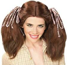 Farm Girl Wig Pigtails Cute Adult Dress Up Halloween Costume Accessory 3 COLORS