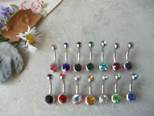 CHOOSE BAR LENGTH & COLOUR,DOUBLE CRYSTAL BELLY BAR,6MM,8MM,10MM,12MM,TITANIUM
