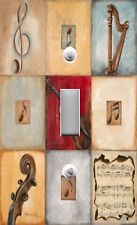 Light Switch Plate Switchplate and Outlet Covers MUSICAL NINE PATCH VIOLIN HARP