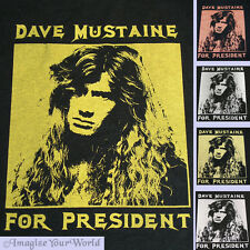 Women's BLACK T-Shirt Dave Mustaine For President S/S Megadeth Humor YOUR Size +