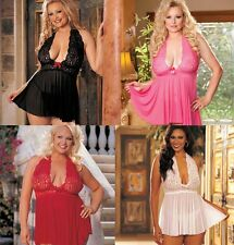 Plus Size Lingerie One Size Queen Black Pink Red or White Babydoll  SOH96164Q