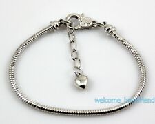 5pcs 18KGP Plated Lobster Clasp Snake Chain Charm Bracelet Fit European Bead P17