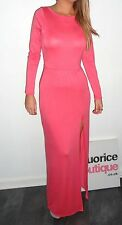 NEW BOUTIQUE CORAL LONG SLEEVED MAXI DRESS WITH SPLIT 8 10 12 14