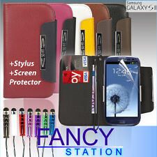 LUXURY WALLET LEATHER CASE COVER FOR SAMSUNG GALAXY S3 I9300 FREE SCREEN GUARD