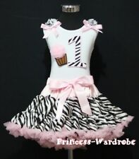 Light Pink Zebra Pettiskirt White Top Ruffles & Bow wif 1st Birthday Cupcake Set