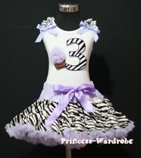 Baby Lavender Zebra Pettiskirt 3rd Birthday Cupcake Optional Shoulder Top Set