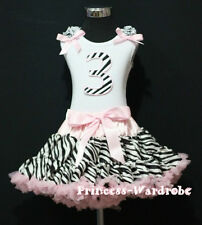 Baby Light Pink Zebra Pettiskirt 2nd Birthday Cupcake Ruffle & Bow Top Party Set
