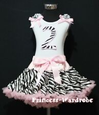 Light Pink Zebra FULL Pettiskirt Tutu White Top Zebra Birthday Number 2ND For 2T
