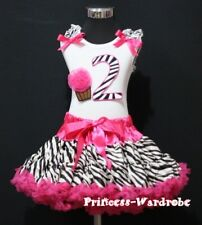 Hot Pink Zebra FULL Pettiskirt Tutu White Top Zebra Birthday Number 2nd Girl 2T