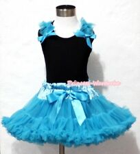 Turquoise Blue Pettiskirt Skirt Black Pettitop Top Blue Ruffle Bow Girl Set 1-8Y