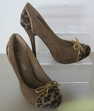 Spot On Ladies Brown Suede and Leopard Print High Heels with Gold Detail! F9580