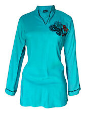 Ladies Indian Embroidered Long Sleeve Kurta-Kurti Tops Turquoise KL369317