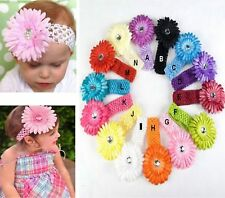 Baby Girl Toddler Daisy Flower Crochet Head Band Headband U CHOOSE COLOUR