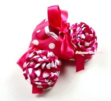 Infant Baby Toddler Hot Pink White Dot Shoe Ribbon Hot Pink Dot White Rose 0-18M