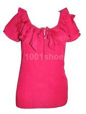 new RRP $70 PORTMANS MAGENTA STRETCH  FRILL NECK BLOUSE TOP