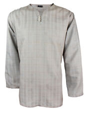 Mens Indian Long Sleeve Kurta Top-Shirt Grey MK6689 Various Sizes