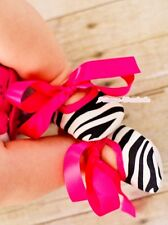 Infant Baby Toddler Girl Hot Pink Zebra Crib Soft Flat Shoe with Ribbon 0-18M