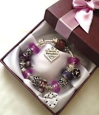 Personalised girls ladies dangle charm bracelet choose message charm in gift box