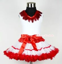 Xmas Red White Trim Pettiskirt Exotic Red Peacock Feather Lace Pettitop Set 1-8Y
