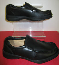 Mens Clarks Line Out Black Leather Slip On Style Shoe - H Fitting