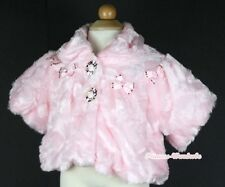 Light Pink Kids Girl Soft Fur With Flash Beads Bow Capelet Coat 2-6Y Shawl SH36