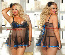 Plus Size SHEER BABYDOLL Open Back Chemise TEAL SATIN & Lace DOT NET Underwire