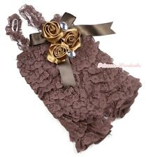 Baby Girls Brown Lace Rose Petti Posh Romper Rosettes Crystal Rompers NB-3Year