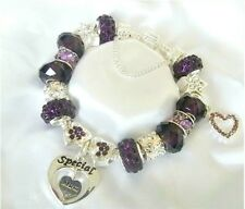 PERSONALISED LADIES CHARM BRACELET LUXURY PURPLE & SILVER MOTHERS DAY GIFT BOX