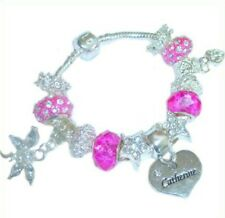 CHILDRENS/GIRLS/TEENS PINK & SILVER CHARM BRACELET PERSONALISED WITH NAMES K-M