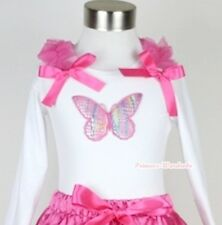 WHITE Long Sleeve Pettitop Top Shirt Butterfly Print & Hot Pink Ruffle Bow 1-8Y