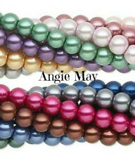 Wholesale 8 Strands 8mm Glass Pearl Beads Beautiful Jewelry Tones, Pastel Colors