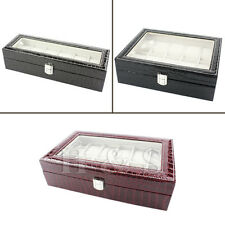 Top Quality Faux Croc Leather Watch Jewellery Display Storage Box Case Stand --Z